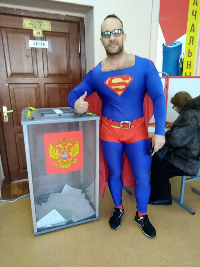 Ярославский Супермен отдал голос за кандидата в Президенты